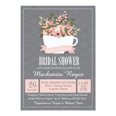 Floral Teacup  Invitation, Tea Party