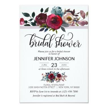 Floral Watercolor Burgundy Purple Bridal Shower Invitations