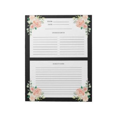 Floral Watercolor Custom Color Recipe Template Notepad