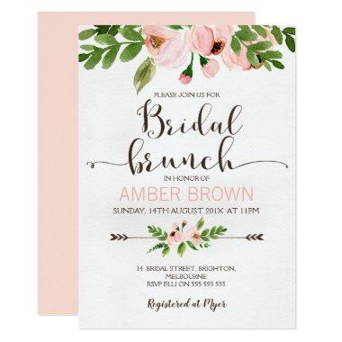 Floral Watercolor Roses Bridal Brunch Invitations