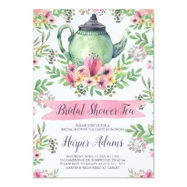 Floral Watercolor Teapot  Tea