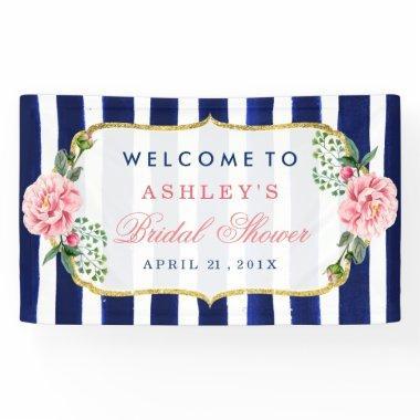 Floral Wedding  Navy Blue Stripes Banner