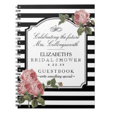 Floral With Stripes Girly  Guestbook Notebook