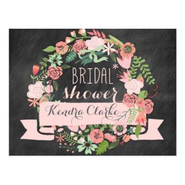 FLORAL WREATH CHALKBOARD  INVITATION POST