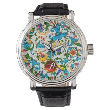 FLORENTINE RENAISSANCE BLUE FLORAL SWIRLS MONOGRAM WATCH