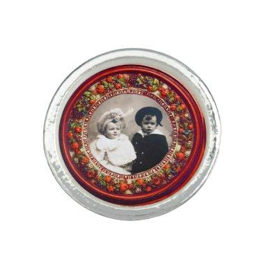 FLORENTINE RENAISSANCE FRUITS Red Photo Template Photo Rings
