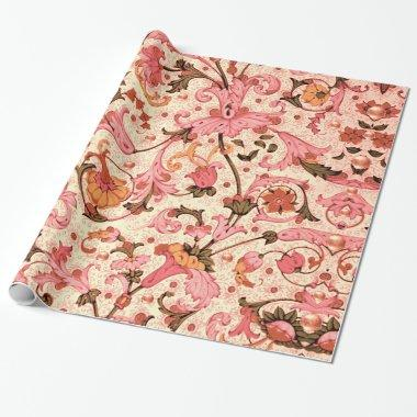 FLORENTINE RENAISSANCE PINK FLORAL SWIRLS,FLOWERS WRAPPING PAPER
