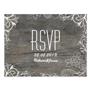 flourish swirls lace wood country wedding RSVP Post