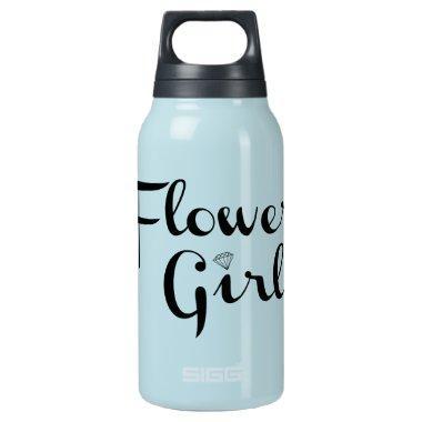 Flower Girl Retro Script Black on Blue Insulated Water Bottle