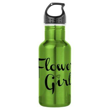 Flower Girl Retro Script Black on Green Water Bottle