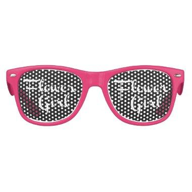 Flower Girl Retro Script White on Black Kids Sunglasses