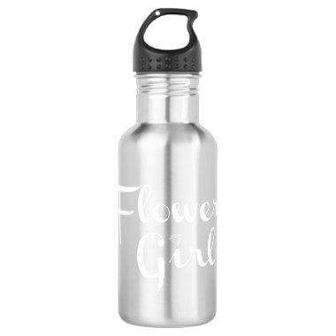 Flower Girl Retro Script White on Grey Stainless Steel Water Bottle