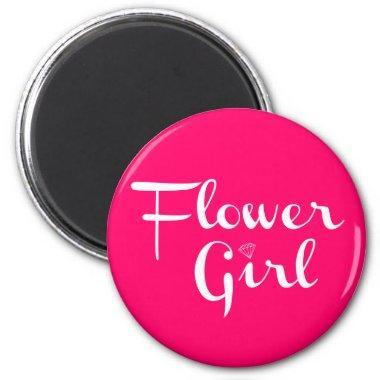 Flower Girl Retro Script White on Hot Pink Magnet