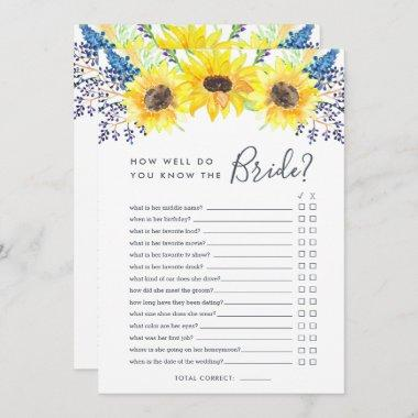 Flowerfields Double-Sided Bridal Shower Game Invitations