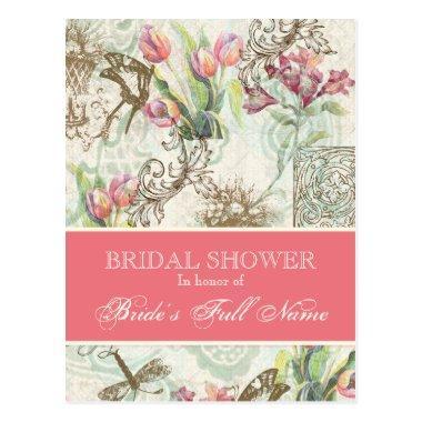 Flutterbyes n Tulip Elegant Bridal Shower PostInvitations