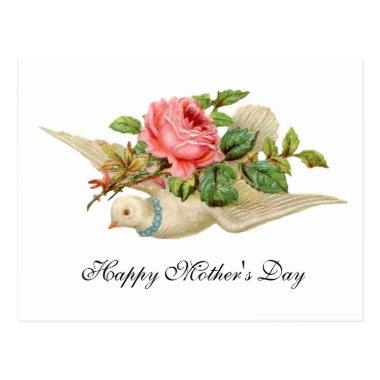 FLYING DOVE WITH PINK ROSE Mother's Day PostInvitations