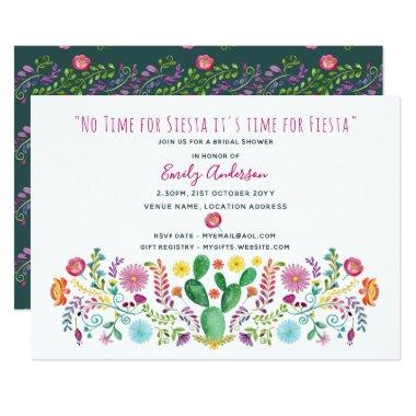 Folk Fiesta  Invite Watercolor Cacti