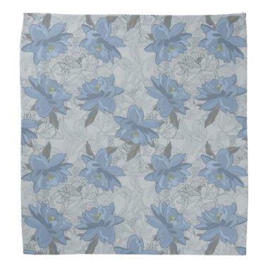 Foral blue lush flowers wedding pattern bandana