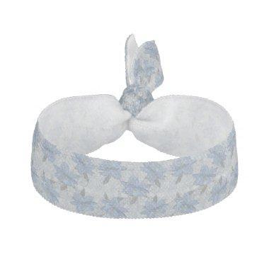 Foral blue lush flowers wedding pattern elastic hair tie