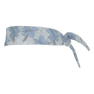 Foral blue lush flowers wedding pattern tie headband