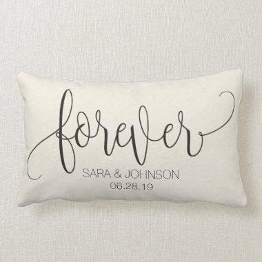 Forever, Calligraphy, Personalized Wedding Gift Lumbar Pillow