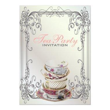 Formal elegant swirls White vintage tea party