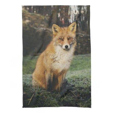 fox kitchen towel, foxy tea towel, fox cub home de hand towel