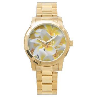Frangipani flower monogram wedding wristwatch