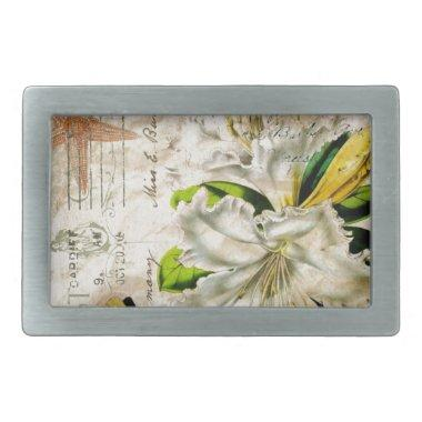 french botanical art starfish butterfly lily belt buckle