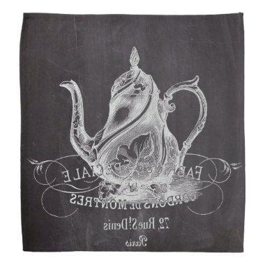 french country paris tea party chalkboard teapot bandana