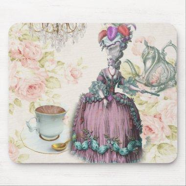 French floral Paris Tea Party Marie Antoinette Mouse Pad