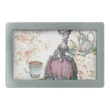 French floral Paris Tea Party Marie Antoinette Rectangular Belt Buckle