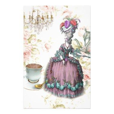 French floral Paris Tea Party Marie Antoinette Stationery