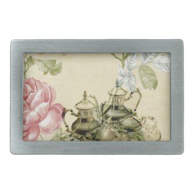 French floral Teacup Teapot Paris Tea Party Rectangular Belt Buckle