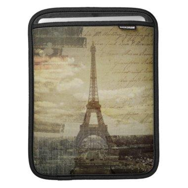 French scripts Modern Vintage Paris Eiffel tower Sleeve For iPads