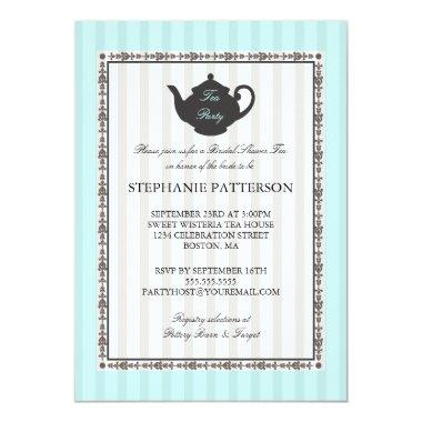 French Stripe Chic Bridal Shower Tea Party Invitations