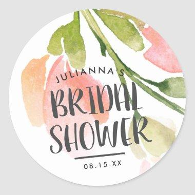Fresh Watercolor Blooms  Favor Classic Round Sticker