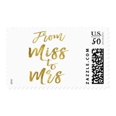 From Miss to Mrs  Party Gold Foil Postage