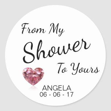 From My Shower To Yours  Black/White Classic Round Sticker