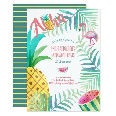 Fruity Tropical Graduation Party Invites Flamingo