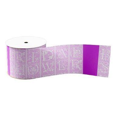 Fuchsia and White  Text Ribbon Design