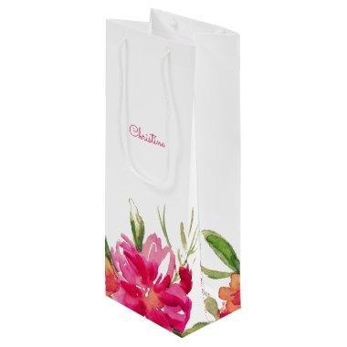 Fuchsia Flowers Wedding Favor Wine Bags