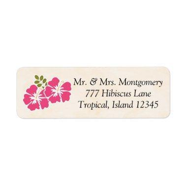 Fuchsia Hibiscus Tropical Themed Hawaiian Label