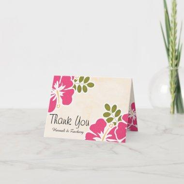 Fuchsia Hibiscus Wedding Thank You Notes Invitations