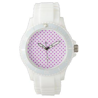 Fuchsia Polka Dots Wrist Watch
