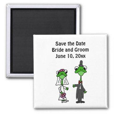 Fun Frog Bride and Groom Wedding Design Magnet
