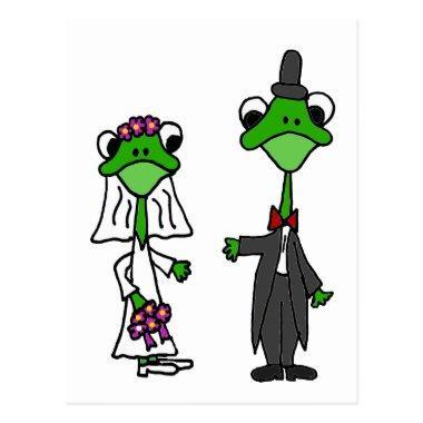 Fun Frog Bride and Groom Wedding Design PostInvitations
