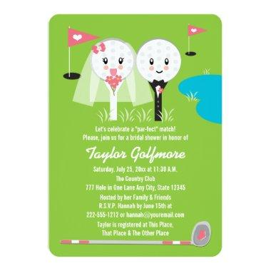 Fun Golf Ball and Tee Bride Groom Bridal Shower Invitations