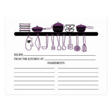 Fun Purple Kitchen Gadgets Bridal Recipe Invitations