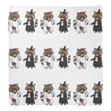 Fun Raccoon Bride and Groom Wedding Art Bandana